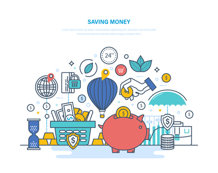 Saving money concept. Accumulation, financial security, investments, savings, bank deposits.