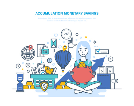 Accumulation monetary savings concept. Financial security, investment, savings, bank deposits.