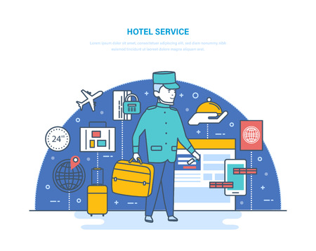 Online hotel reservation, room in hotel. Services for delivery luggage.