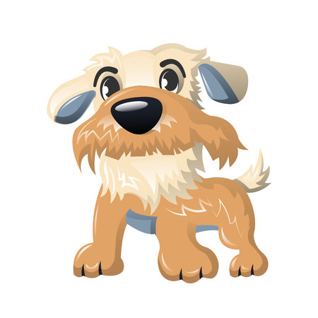 Beautiful funny cartoon dog, furry human friend, home animal.