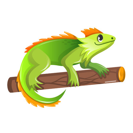 Beautiful funny cartoon green iguana sitting on a tree. Ilustração