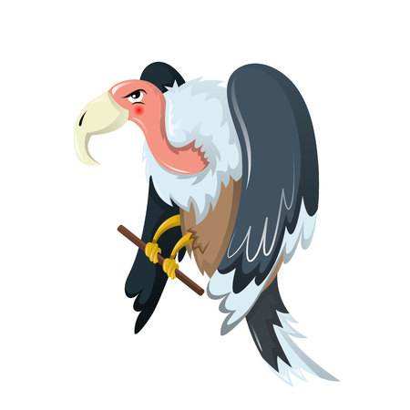 Animales divertidos. Ave de rapiña es buitre, familia de halcones. Ilustración de vector