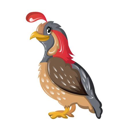 Beautiful funny cartoon quail. Bird of subfamily grouse, partridge. Illustration