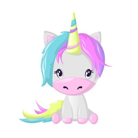 Divertido personaje de dibujos animados ficticio hermoso, colorido unicornio. Animal de hadas de fantasía. Foto de archivo - 95318404