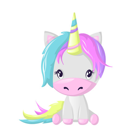 Funny beautiful fictional cartoon character, colorful unicorn. Fantasy fairy animal. 矢量图像