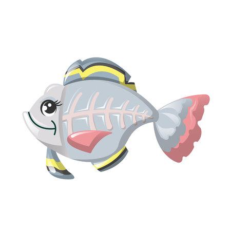Funny marine inhabitant of deep water. Fish x-ray, cute animals. Çizim