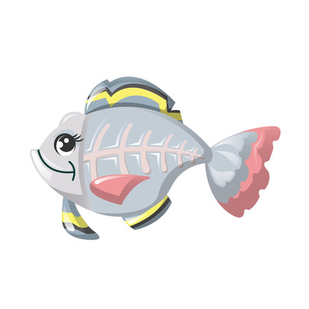 Funny marine inhabitant of deep water. Fish x-ray, cute animals. Illustration