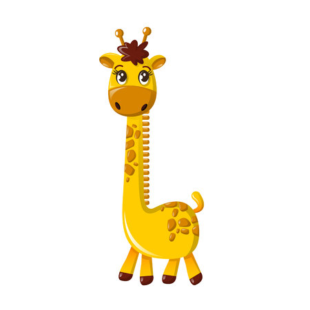 Beautiful funny cartoon tall giraffe.