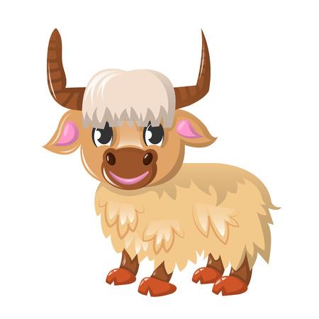 Large colorful yak vector illustration. Ilustrace