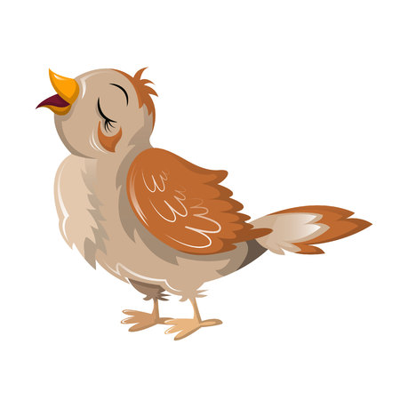 Beautiful funny cartoon bird nightingale. Large colorful migrating bird.