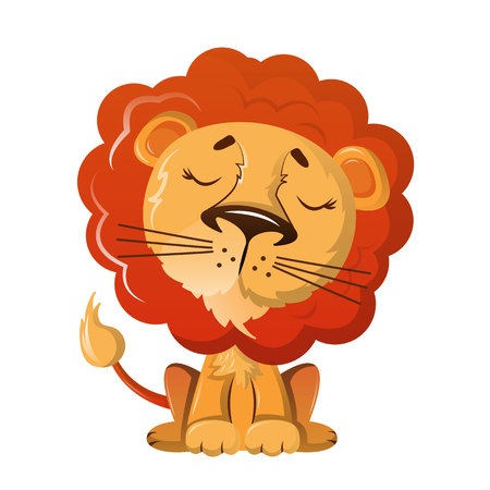 Funny wild cartoon lion with nice kind look. Иллюстрация