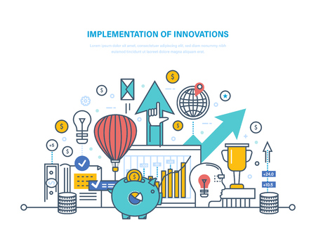 Implementation of innovations vector illustration with piggy bank, balloon, lightbulb, arrows.