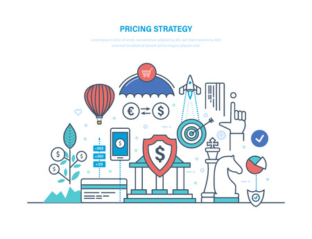 Pricing strategy Vector illustration with umbrella, shopping cart, dollar sign, building.
