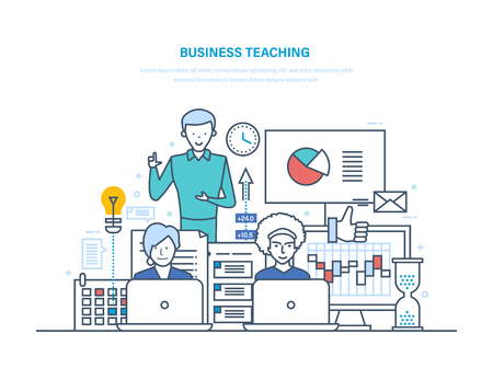 Business teaching concept, standing man teaching, with pie chart illustration while two person in front of their laptop. 矢量图像