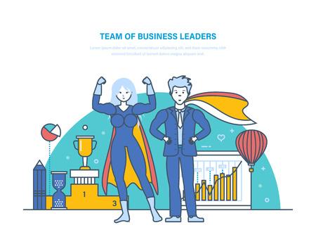 Team of business leaders. Cartoon characters of superheros. Successful businessman.