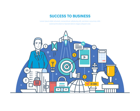 Success to business concept with chess pieces, rocket, trophy cup, padlock, calculator. Vector illustration.