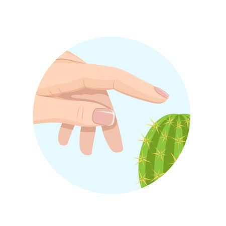 Human sense organ . Skin touches watermelon to environment, tactile sensations. Illustration