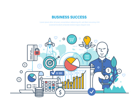 Business success concept. Achievement big profit, high goals, financial well-being, growth on career ladder. Success investment, leadership, growth in work, luck. Illustration thin line design. Stock Illustratie