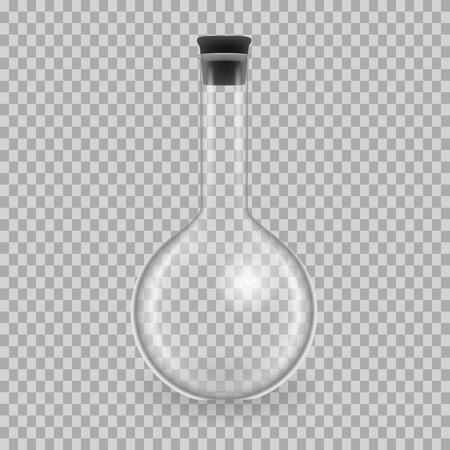 Scientific glassware, test tubes. Realistic templates round flask, mockup. Vectores