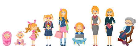 Complete cycle of womans life from childhood to old age.  イラスト・ベクター素材