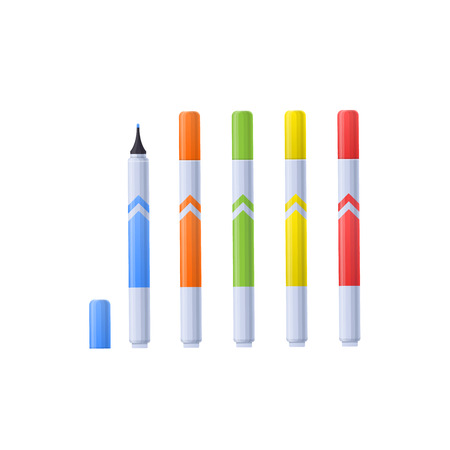 Set multi-colored realistic markers for drawing paintings and images. Illustration
