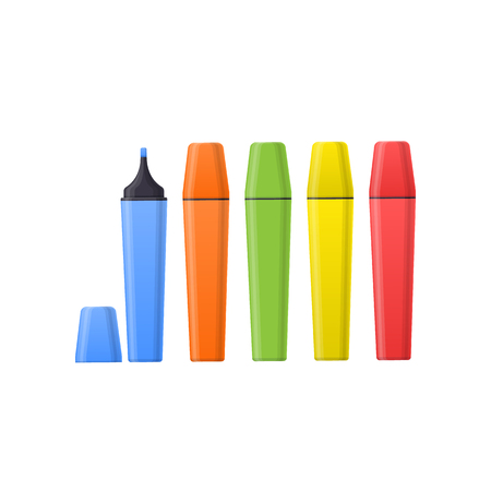 Set multi-colored realistic markers for drawing paintings and images. Stock Photo