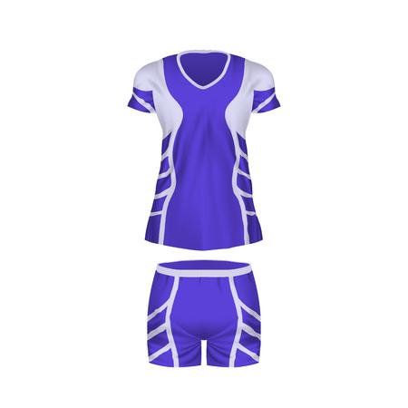Realistic mockup women t-shirt - tunic, fashion shorts. Football form. 스톡 콘텐츠