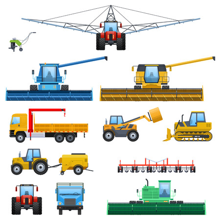 Set agricultural machine vehicle for cleaning, watering territories, truck for transportation, tractors, cultivators, combine harvester, comercial transport. Farmer s transport. Vector illustration