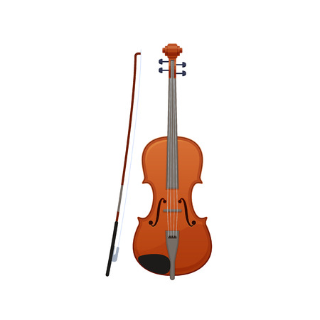Realistic wooden musical violin, with wand. Carved classical musical instrument.