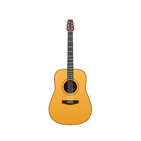 Wooden guitar, traditional string musical instrument. Music on acoustic guitar.