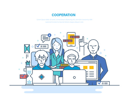 Cooperation, partnerships, teamwork with colleagues, interaction among themselves, coworking, collaboration. Ilustração