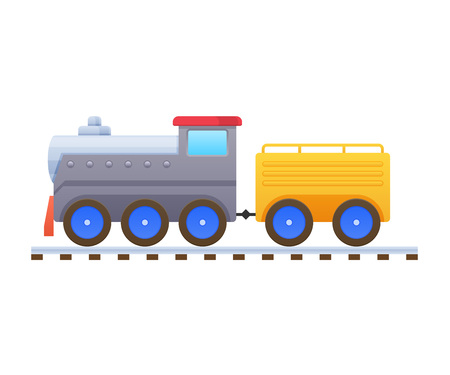 Children s toys. Beautiful multicolored train, locomotive, passenger and cargo transportation.
