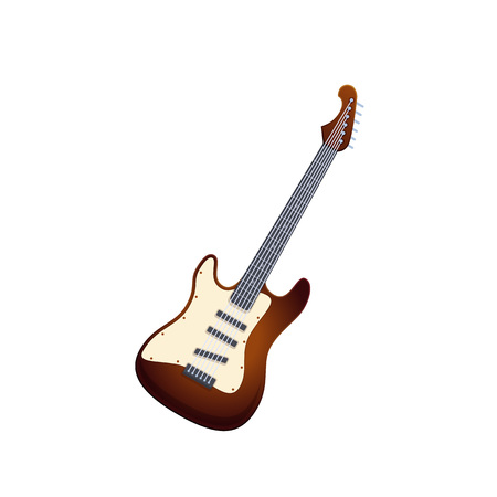 Wooden guitar, traditional string musical instrument. Music on electronic guitar.