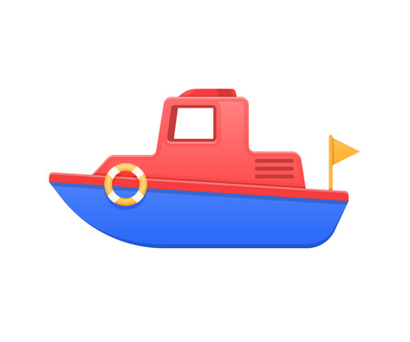 Modern colorful children s toys. Beautiful children s colored boat. Water vehicle. Illustration