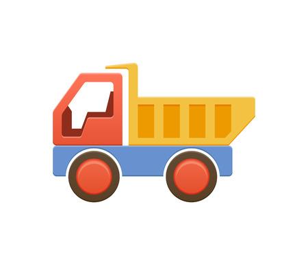 Children s toy color plastic machine, dump truck, machine, auto. Illustration