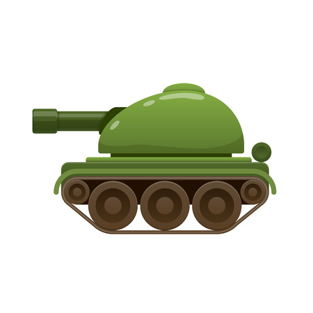 Children s beautiful realistic toy green battle tank, armored car. Illustration