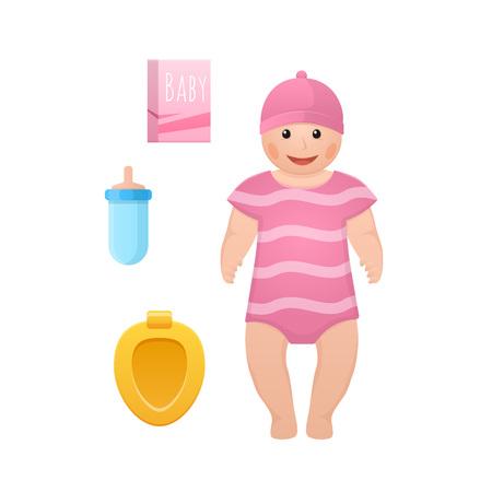 Kids doll, children toys, accessories concept. Baby toy doll, newborn.