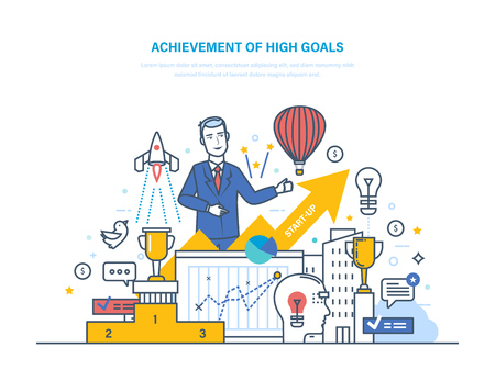 Achievement high goals. Financial and career growth, success in business. Vector illustration. Illustration