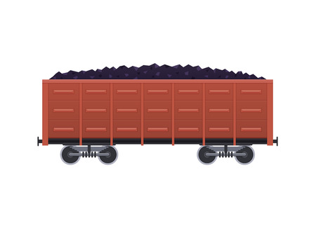 Railway wooden car, with cargo in form of coal, minerals.