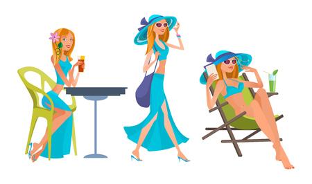 Summer holidays in warm regions, travel, leisure on beach, sea.