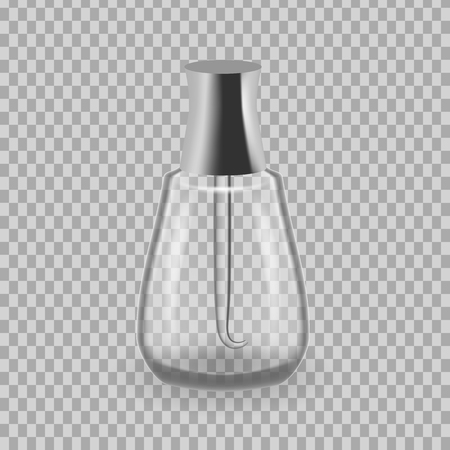 Realistic mock-up, template of flacon, glass bottle with lacquery, application to hands. Vector illustration.