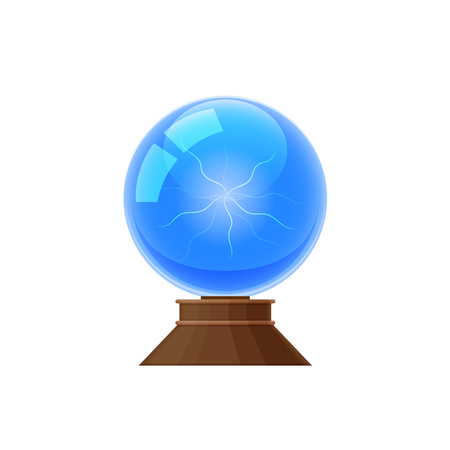 Colorful magic glass sphere, magic mystical energy ball. Plasma ball for predictions, divination. Discharge of lightning, miracles. Item for game user interface, web games. Illustration isolated.
