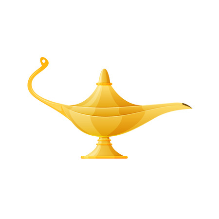 Golden realistic magic lamp, magical oriental Arabic lamp with gin. Stock Illustratie