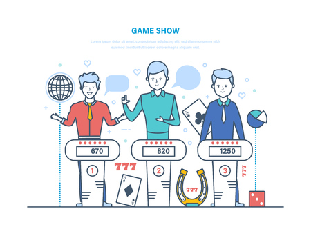 Game show, participants of show play quiz, answer logical questions. Vectores