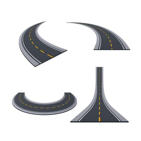 Asphaltierte Straßen, Spur, Landstraßen, Autostraßen mit Kurven, Steigungen, dreht Illustration. Standard-Bild - 97992005