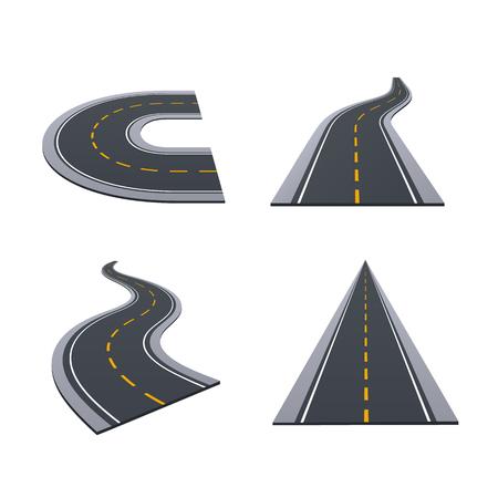 Asphaltierte Straßen, Spur, Landstraßen, Autostraßen mit Kurven, Steigungen, dreht Illustration. Standard-Bild - 97992007