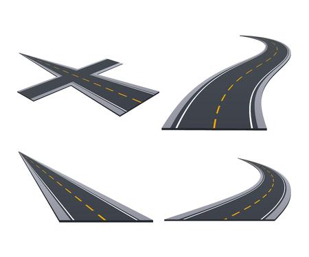 Asphaltierte Straßen, Spur, Landstraßen, Autostraßen mit Kurven, Steigungen, dreht Illustration. Standard-Bild - 97992008