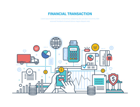Financial transactions. Contribution money, currency deposits, money exchange, transfers. Ilustrace