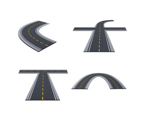 Asphaltierte Straßen, Gleise, Autobahnen, Autostraßen mit Kurven, Anstiegen, Kurven. Standard-Bild - 98034383
