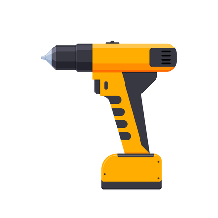 Electric screwdriver, with cross-shaped, conventional nozzle. Tool for screwing screws. Illustration
